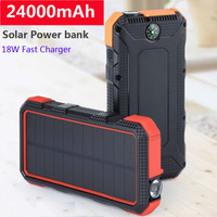 24000mAh Solar Power Bank Type C PD 18W QC3.0 Fast Charging USB Solar Charger Powerbank External Battery For Smartphone Tablets