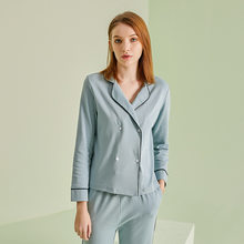 Double Breasted Women Summer Cotton Home Sleepwear Long-sleeved High-end Quality Tops with Long Trousers Suits Loungewear Women(China)