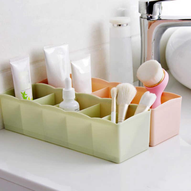 5 Grid Penyimpanan Plastik Kotak Makeup Sikat Pemegang Penyimpanan Perhiasan Laci Penyelenggara Peralatan Kaus Kaki Home Penyimpanan Rak Organizer