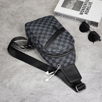 Men Casual Bags Belt Leather Plaid Waist Bags Male Leather Shoulder Cross body Bag Leather Chest bag for men yiang genuine leather messenger bags men s small cross body shoulder bag travel style waist belt bags for man waist pack black