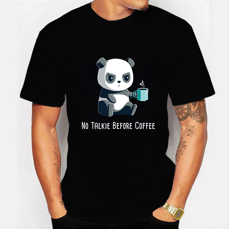 NEW No Talkie Before Coffee Prints Male T Shirts Fashion Mens Shirts Kawaii Panda Tshirt Boyfriend Gift Tops Tee Moda Masculina
