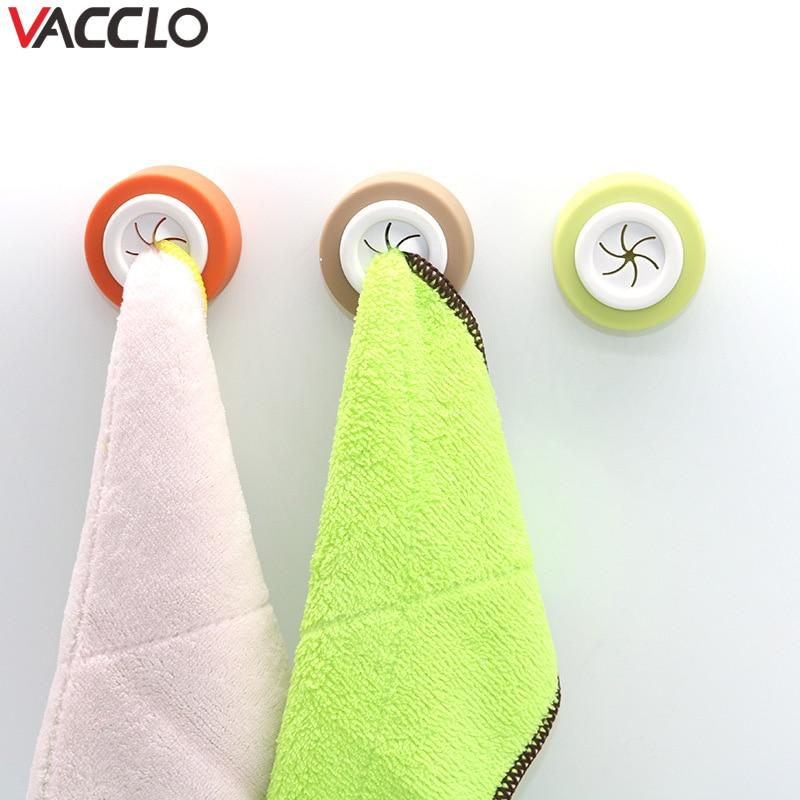 Vacclo Towel Holder Sucker Wall Window Bathroom Tool Convenient Kitchen Storage Hooks Washing Cloth Hanger Rack Rag Organizer