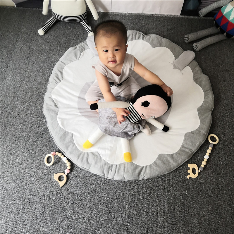 Hcf9525d76bc84b76b9e28ae2dd5015829 Child Play Mats kids animal Crawling Carpet Floor Rug Baby soft cotton sleeping Game rugs Children Room Decor Photo Props 90CM