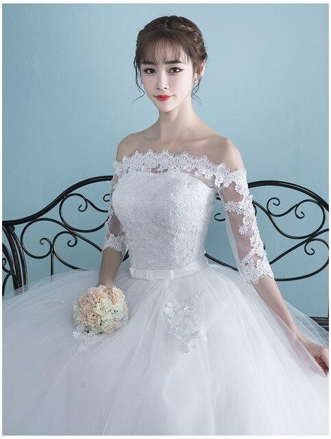 LAMYA Vestidos Boat Neck Bride Married Dress Long Sleeve Simple Large Size Ball Gowns Tulle Wedding Dresses De Novia New Lace up 6