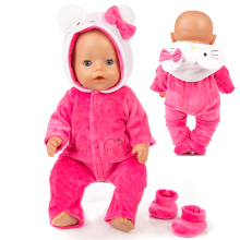 Warm Rompers Jumpsuits+Shoes Fit 17 inch 43cm Doll Clothes Born Baby Rompers Suit For Baby Birthday Festival Gift