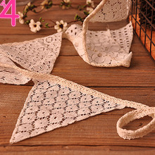 Vintage 2.1M White Cotton Lace 10 Flags Bunting Pennant Banner for Wedding Holiday