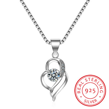 925 Sterling Silver Chain Choker Necklace Luxury Crystal CZ Love Heart Pendant Necklaces For Women Party Jewelry Gifts image