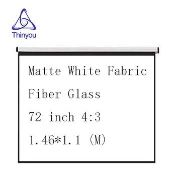 Thinyou Matte White Fabric Fiber Glass Curtain 72 inch 4:3 Pull Down LED DLP Beamer Projector Screen For School Office thinyou 72 inch 4 3 matte white fabric fiber glass bracket screen gain portable pull up projector screen stable stand tripod