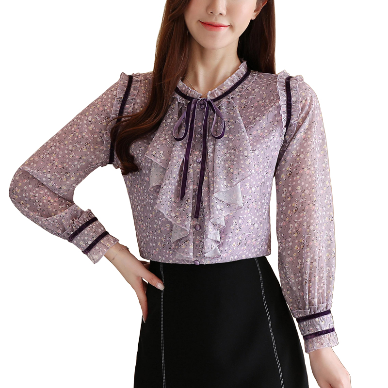 Hot sell Spring & Autumn women long sleeve bow-knot purple floral chiffon shirt