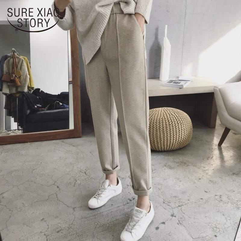 Harem pants outono e inverno mulheres grossas calças de cintura alta tornozelo comprimento calças femininas solto casual terno reto calças 6991 50