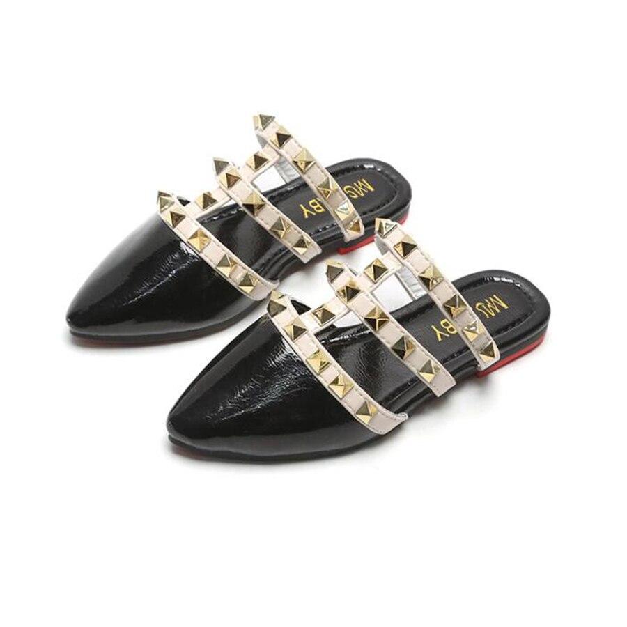 Children Sandals Girls 2020 Summer Roman Rivet Princess Shoes Little Girls Shoes Slippers Outdoor Fashion Kids Sandals Flat