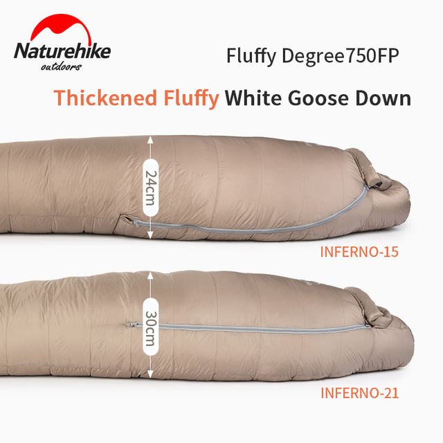 Naturerandonnée blanc duvet doie sac de couchage momie 750FP adulte coupe-vent imperméable pour Camping en plein air et randonnée