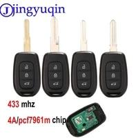 Jingyuqin remoto chave 3 botão 434mhz com 4a pcf7961m chip para renault sandero dacia logan