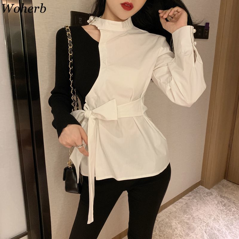 Woherb Hollow Out Patchwork Blouse Contrast Color Long Sleeve Lace Up Slim Waist Shirts Korean Fashion Tops Streetwear 91121