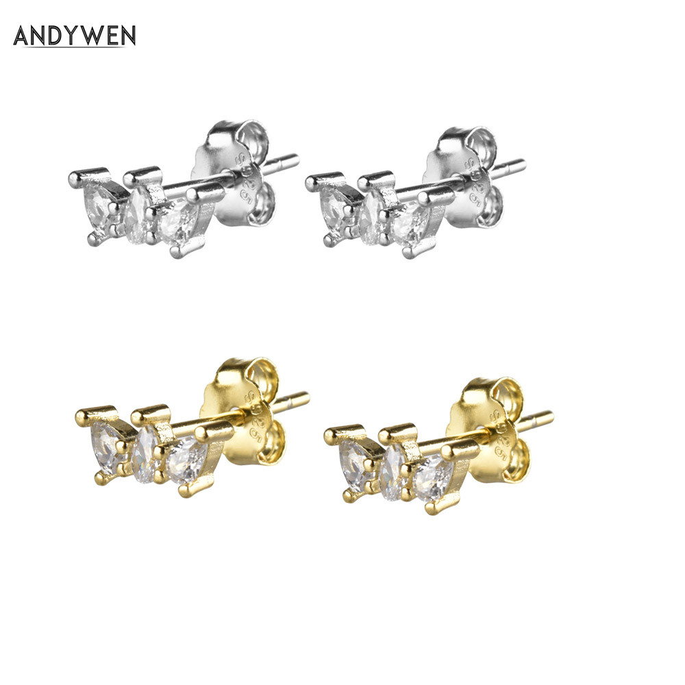 ANDYWEN 925 Sterling Silver Pirum Screw Crystal CZ Stud Earring 2019 Fashion Women Design Jewelry Nightmare Before Christmas