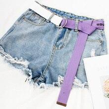 Модный тканевый ремень с буквенным принтом Harajuku для мужчин и женщин, повседневные джинсы с d-образным кольцом и пряжкой, поясные ремни, белый пояс Z30