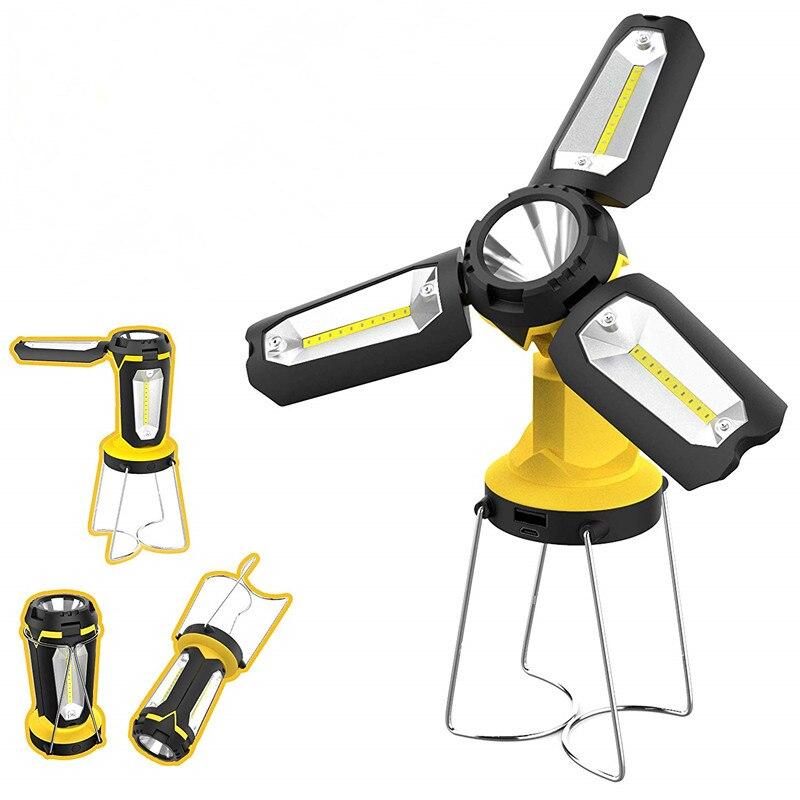 Linterna Spotlight Lampe Led Werklamp recargable portátil lámpara de luz de trabajo para linterna impermeable iluminación de emergencia Reflector LED de carga USB Luz de trabajo reflector recargable 2*18650 o 4 * AA batería al aire libre reflector para Camping emergencia