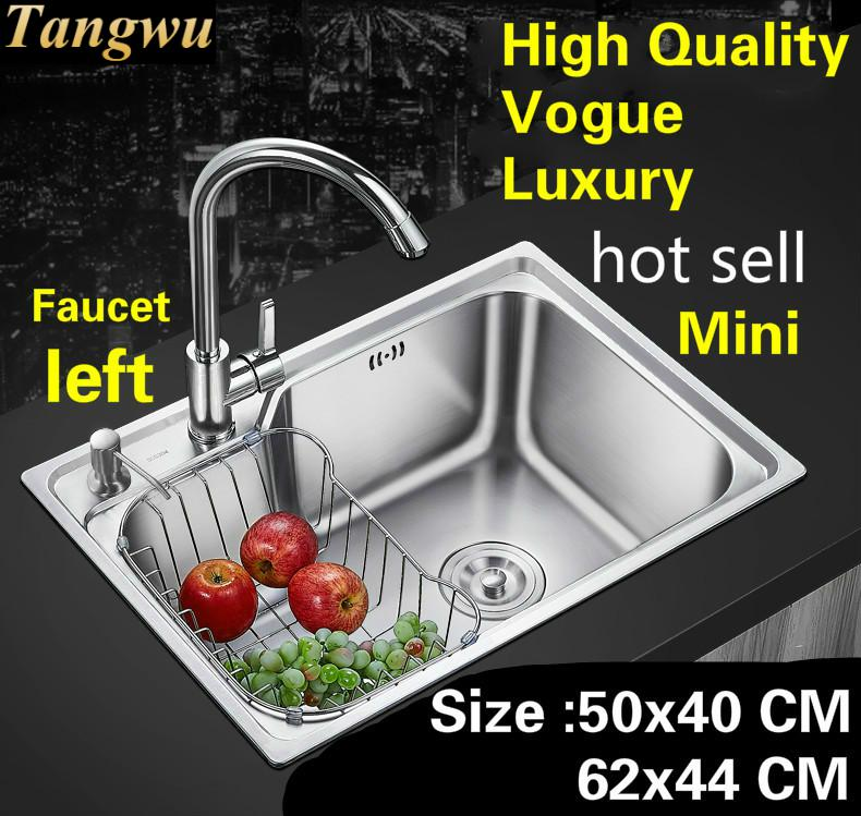 Free Shipping Apartment Luxury Kitchen Single Trough Sink Wash Vegetables 304 Stainless Steel Mini Hot Sell 620x440/500x400 MM