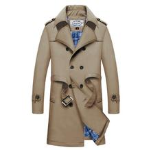 Men Long Trench Coats Autumn Winter Business Double Breasted Sashes Designer Outerwear