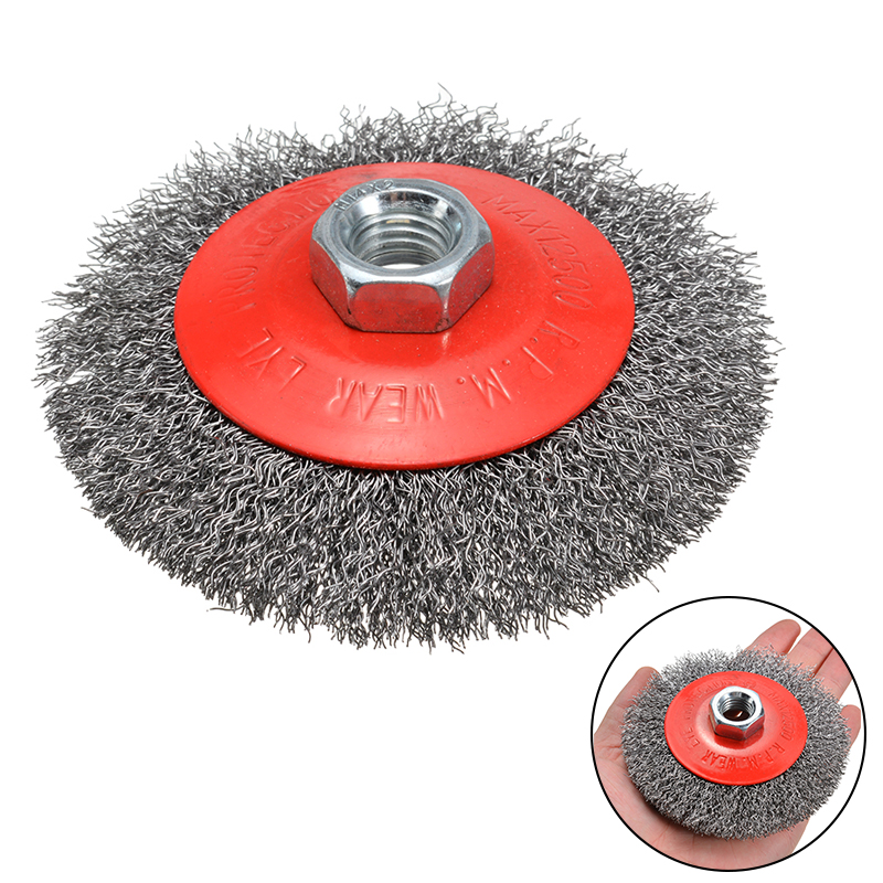 1Pcs Wire Wheel Brush Clearance Line Crimped Wire Bevel Brush Wheels M14 Thread For Angle Grinder Rust Removal Cleaning Tool