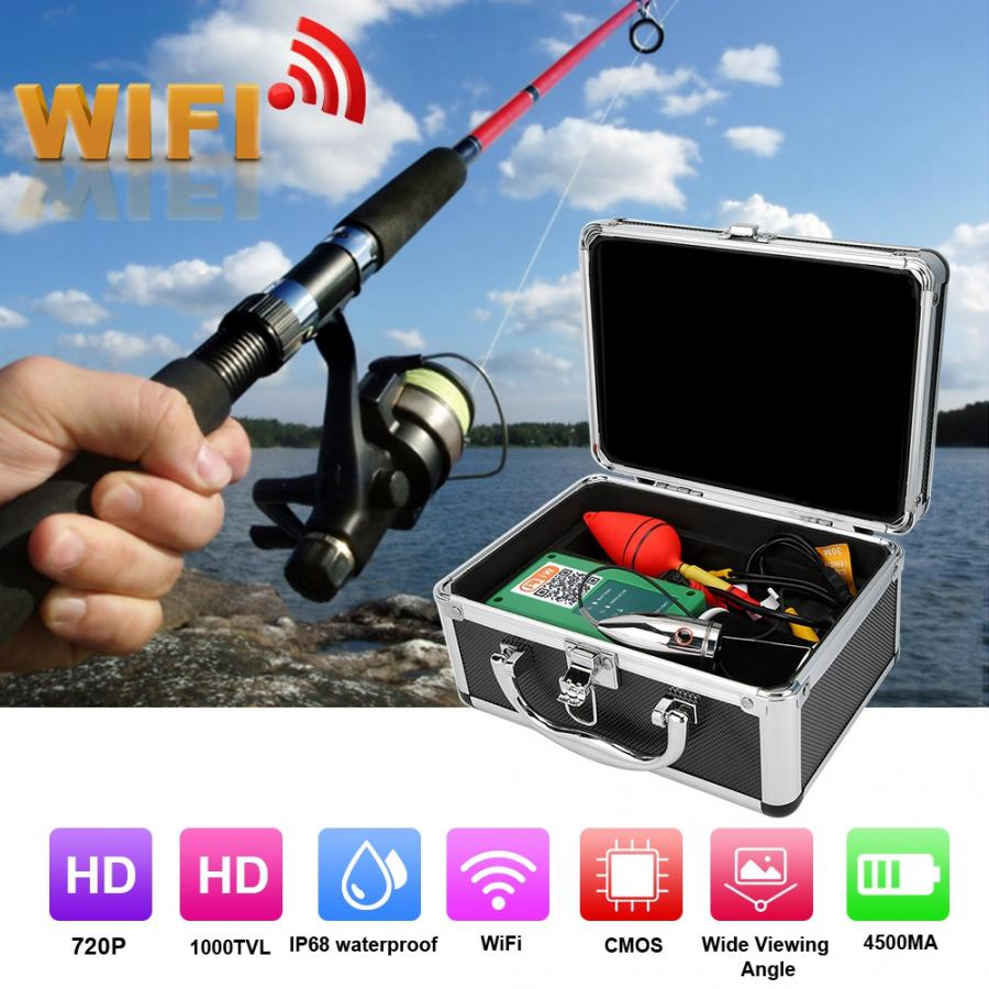 Portable Fish Finder Camera Professional 720P 164ft Cable WiFi 6LED 165/° Wide Angle IP68 Underwater Video Camera Waterproof Camera