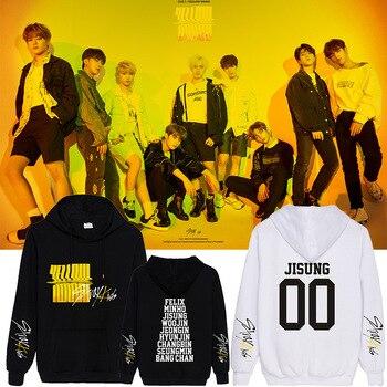 StrayKids Yellow Wood Kpop 2019 New Style Hoodie Sweatshirt Men And Women Sweatshirt Clothes Casual Oversized 3D Hoodie casual cross at back sleevless hoodie sweatshirt in grey