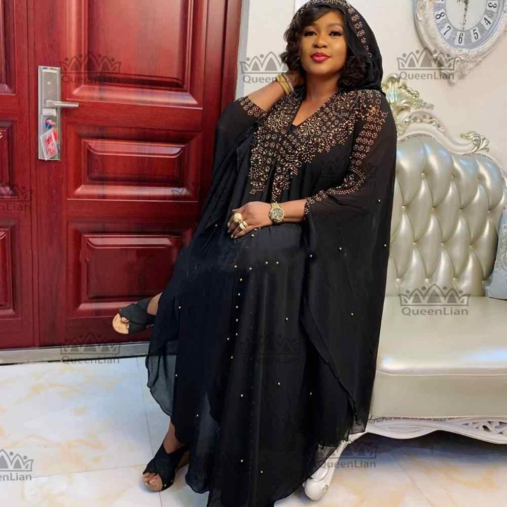 فستان بتصميم أفريقي جديد لعام 2019 من الشيفون البازان بأكمام طويلة وأكمام ماسية للسيدات