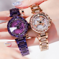 VOHE Deer Rotate Women Watches Rose Gold Luxury Diamond Ladies Watch Waterproof Steel quartz female wristwatch relogio feminino