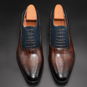 Image 4 - Men Dress Shoes Leather Office Business Wedding Handmade Mixed Color Brogue Formal Round Toe Oxford Mens Shoe