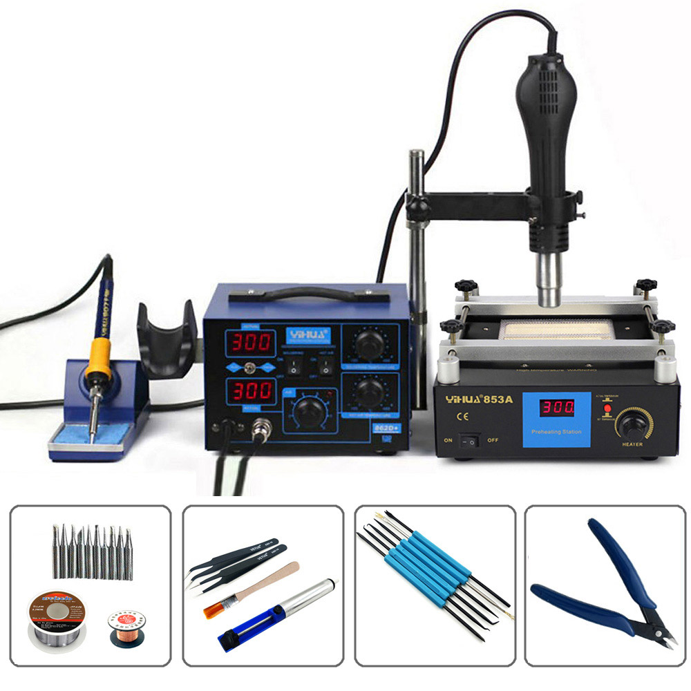 YIHAUA 862D+ And 853A 3 Functions in 1 Bga Rework Station 650W SMD Hot Air Gun + 75W Soldering Irons +600W Preheating Station