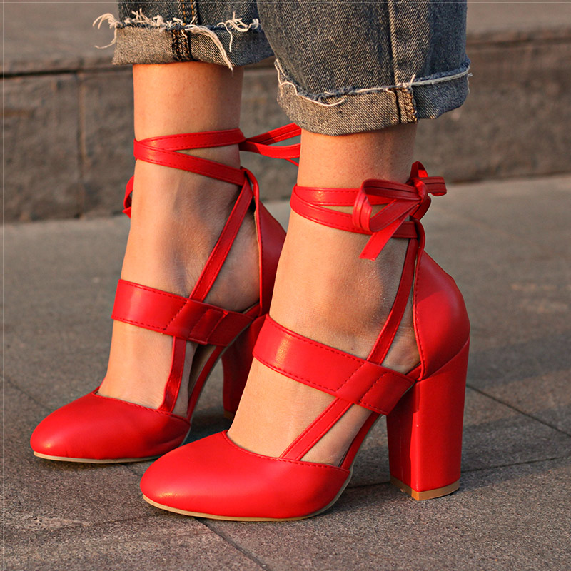 Women Pumps Comfortable Thick Heels Women Shoes Brand High Heels Ankle Strap Women Gladiator Heeled Sandals Wedding Shoes 698