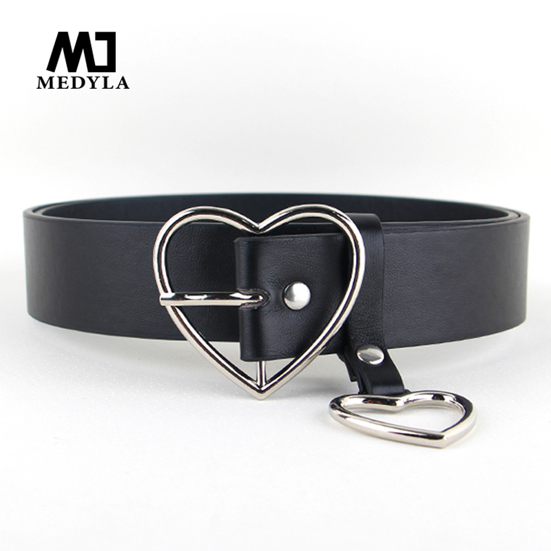 MEDYLA Sweetheart Buckle With Adjustable Ladies Luxury Brand Cute Heart-shaped Thin Belt High Quality Punk Fashion Belts