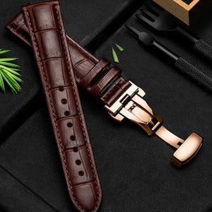 Ремешок для часов UTHAI Z09 Plus, универсальный ремешок из натуральной кожи, 12-24 мм, с пряжкой-бабочкой, стальной пряжкой