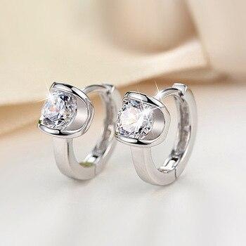 100%  silver color jewelry Buckle earrings high-grade zircon Girl Pendientes Plata Brincos Button Earrings for women 2