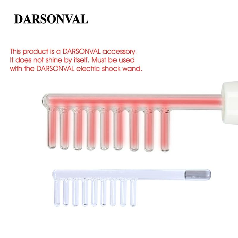 DARSONVAL 1Pcs High Frequency Facial Comb Glass Tubes Hair Massager Electrode Wand Replacement Orange Ray Face Skin Care Device