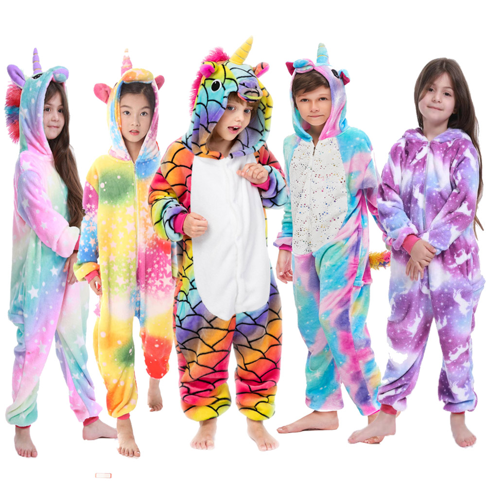 Pajamas Panda Children Girls Unicorn Pajama Boys Stitch Oneises Pijamas Unicornio For 4 6 8 10 12Years Stitch Costume
