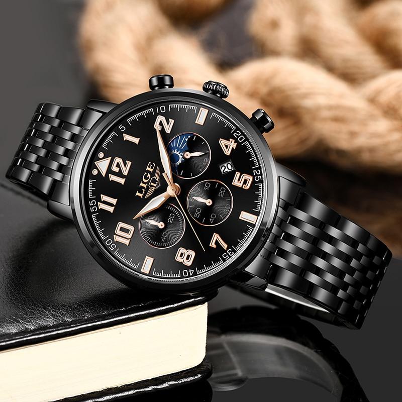 Relogio Masculino LIGE Mens Watches Top Brand Luxury Men 39 s Sport 39 s Watch Men All Steel Waterproof Watch For Men Quartz Clock Box in Quartz Watches from Watches