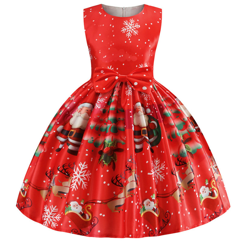 Baby Girls Christmas Dress Costume Princess Girl's New Year Party Dresses Children Kids Clothing Infantil Vestidos Red Clothes 1