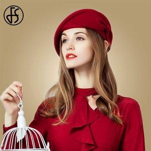 Image 4 - FS レディースレッドウェディング帽子女性のためのヴィンテージ 100% ウールはピルボックス帽子黒の魅惑的な冬 Fedoras 弓ベレー帽教会帽子