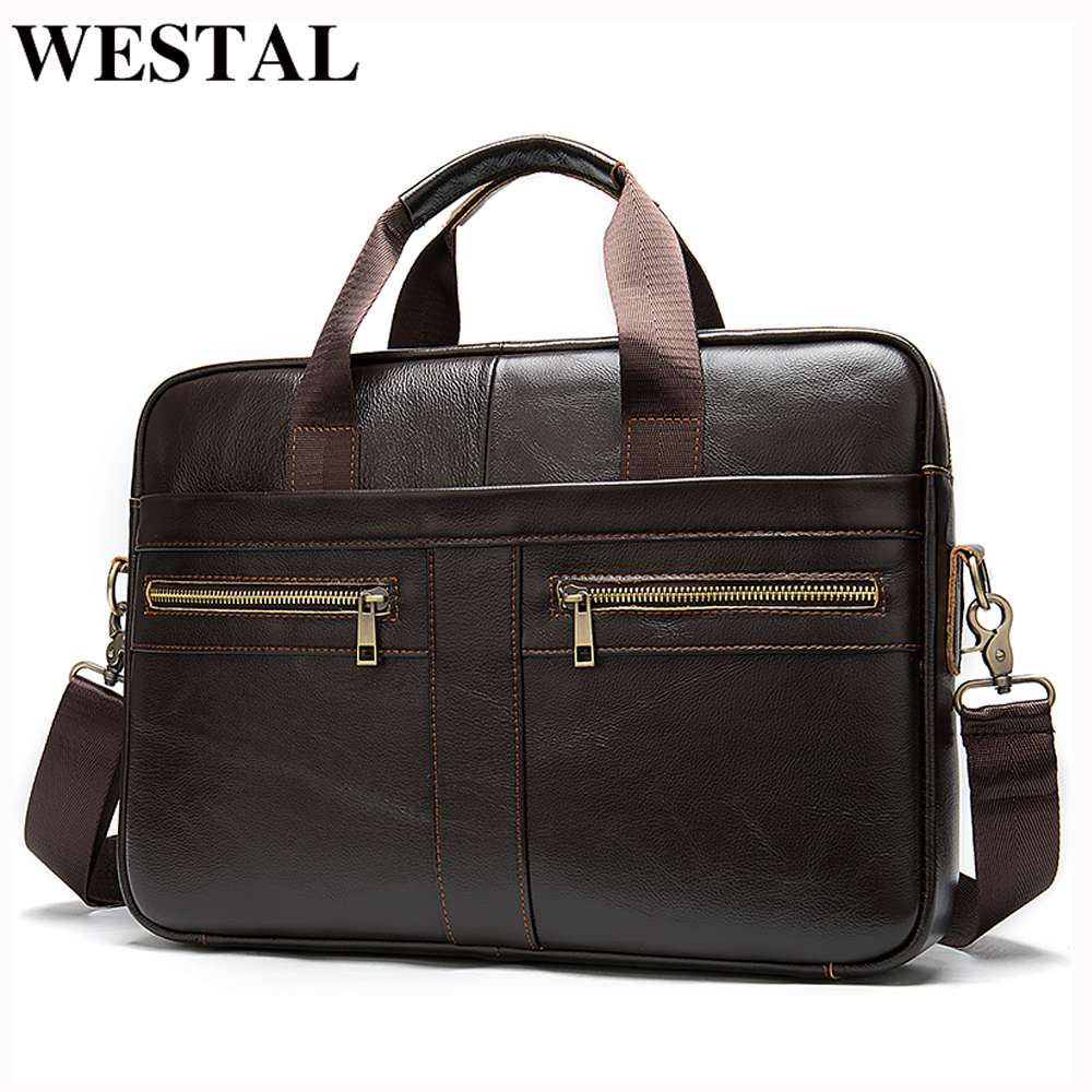 WESATL Men's Bag Genuine Leather Laptop Bag Men Briefcase Handbag Office Bag For Men Fashion Men's Handbag For Documents 2019