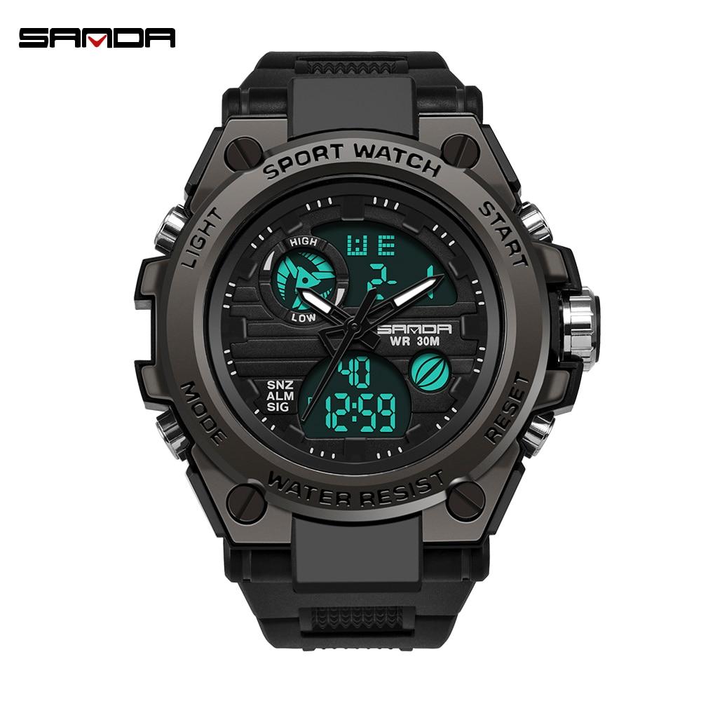 2019 Sanda Men's Watches Black Sports Watch LED Digital 3ATM Waterproof Military Watches S Shock Male Clock Relogios Masculino
