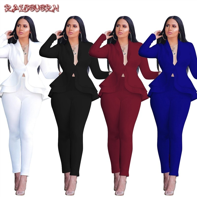 Fashion Ruffle Scuba Casual Two Piece Set Solid V Neck Long Sleeve Blazer Coat Pencil Pants Office Lady Business Suits 2019
