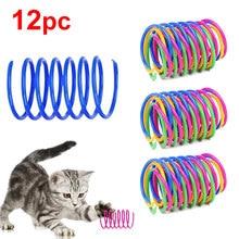 12pc brinquedo de mola de gato colorido bobina de plástico espiral interativo brinquedo de gato engraçado jogo doca gato teaser brinquedo para gatinho acessório