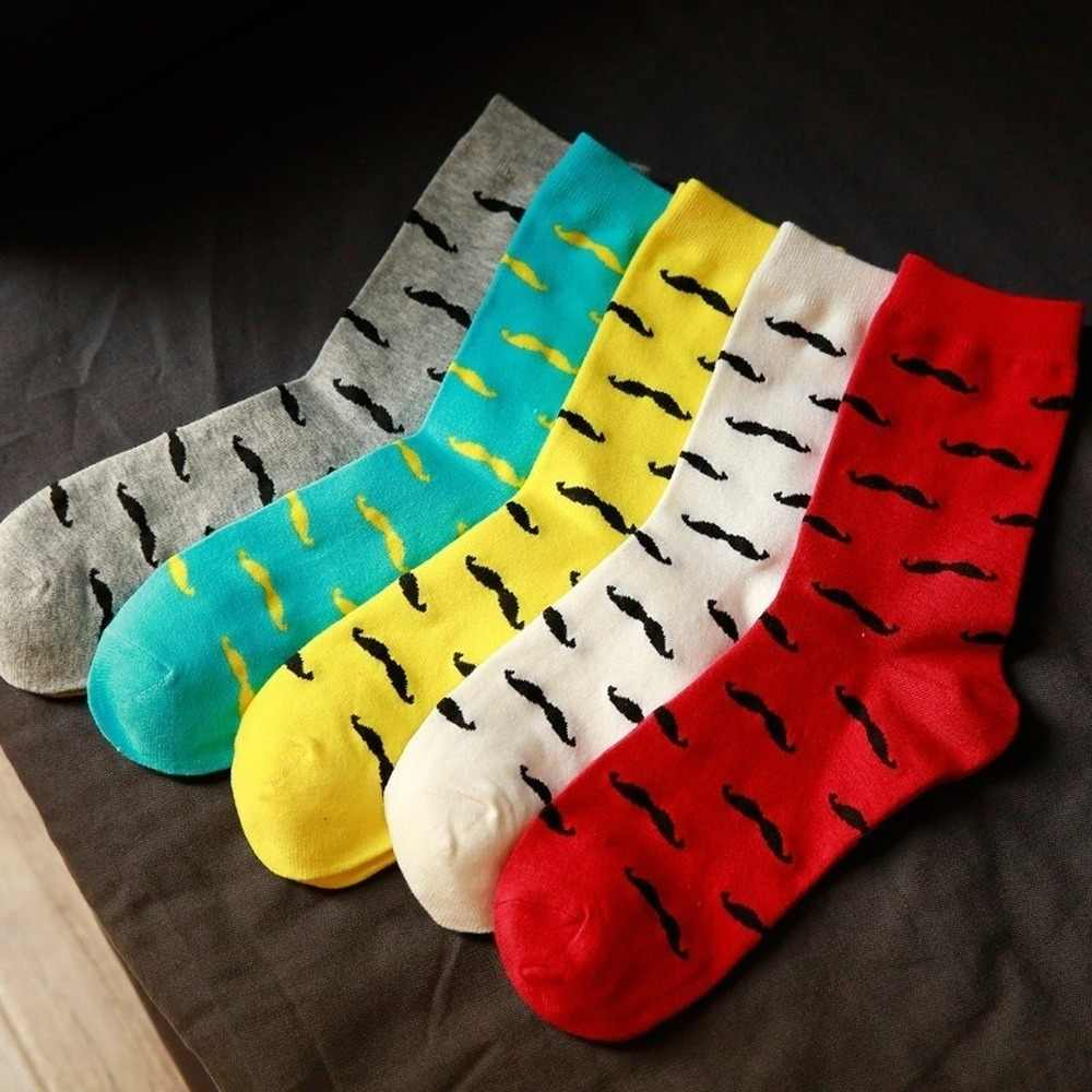 Erkek çorap rahat saf pamuk sakal desen tüp çorap erkekler moda düz renk komik mutlu çorap 2019 sıcak satış