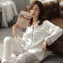 Summer Satin Pajamas White Pyjamas PJ Set Female Long Sleeve Sleepwear Suit Ladies Night Wear Imitation Silk Nighties For Women khaki pajamas suit with imitation silk material