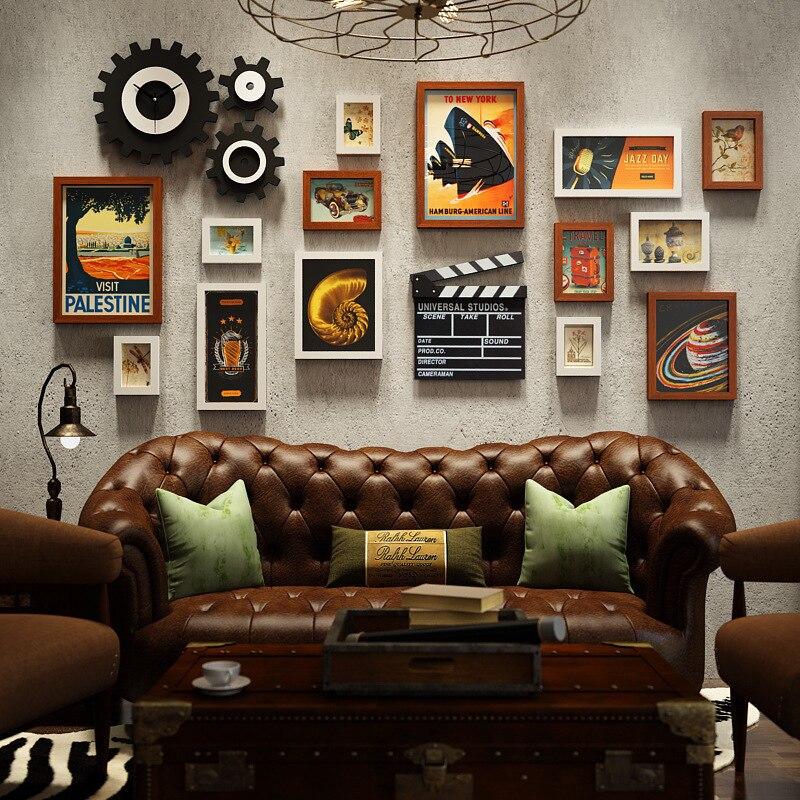 Amerikanischen Foto Wand Kreative Foto Rahmen Uhr Kombination Industrielle Wind Hängen Wand Wohnzimmer Foto Wandbild Dekoration