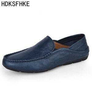 Image 1 - Мокасины мужские из натуральной кожи, лоферы, прогулочная обувь, плоская подошва, модные брендовые, Мокасины, большие размеры 36 47, весна осень