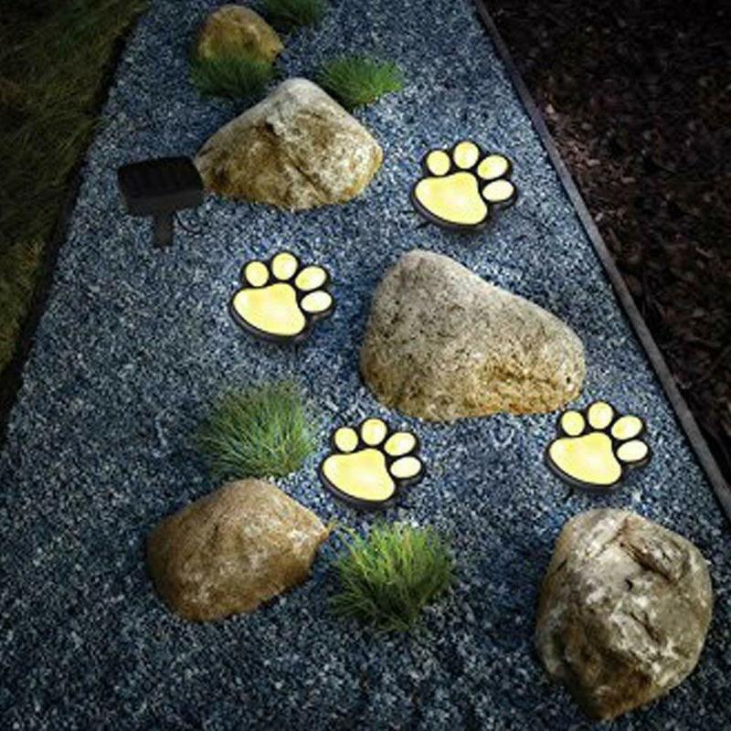 LED Solar Garden Light Outdoor Waterproof For Garden Decoration Dog Cat Animal Paw Print Lights Path Lawn Lamp