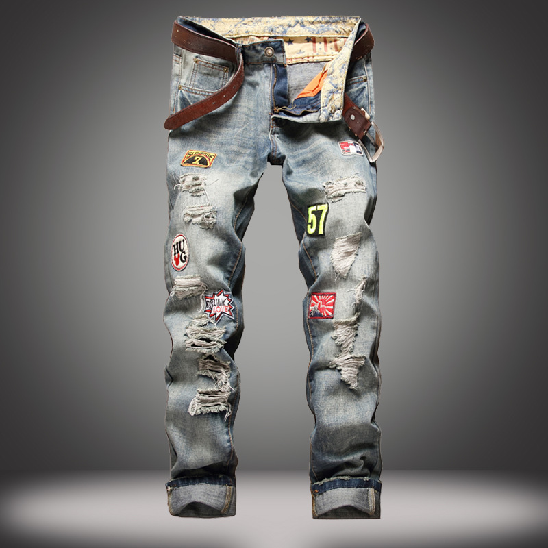 Mens France Biker Moto Jeans Slim Fit Straight Denim Pants Distressed Trousers Explosions Ripped