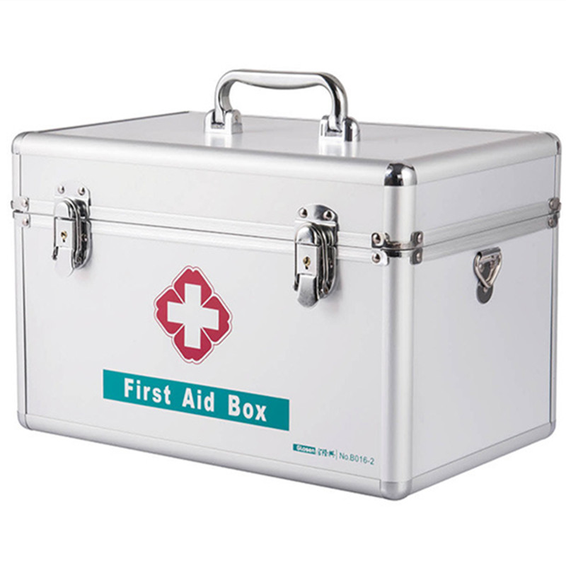 Household Medicine Shoulder Suitcase Aluminum PVC Lockable Portable Family Medicine Box Safety Protection First Aid Kit Bag Lock